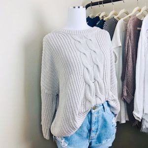 H&M Slouchy Cable Knit Wide Sleeve Sweater